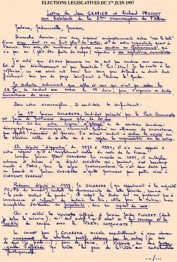 Tract manuscrit diffusé au second tour (1er juin 1997)