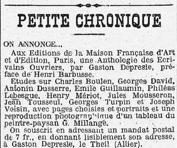 HUMA 10 sept 1922 Annonce anthologie